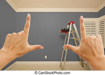 pintado, cinzento, parede, formule, mãos, interior