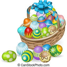pintado, colorido, huevos, cesta de pascua