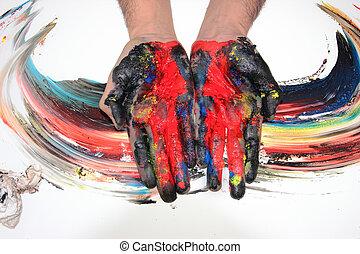 pintado, colorido, manos