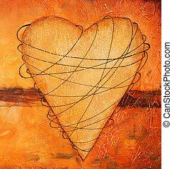 pintado, coração, -, bondage