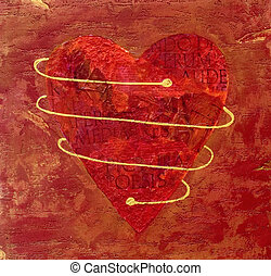 pintado, coração, colagem, vermelho