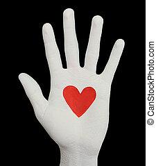 pintado, coração, palma, mão