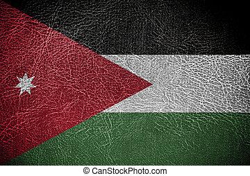 pintado, couro, bandeira, jordânia, textura