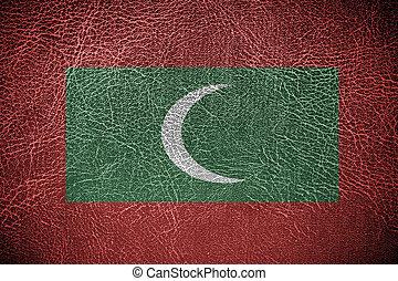 pintado, couro, bandeira, maldives, textura