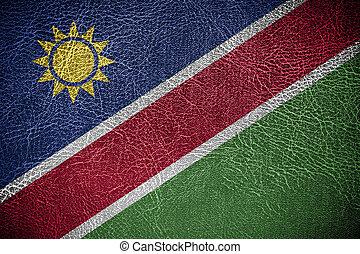 pintado, couro, bandeira, namíbia, textura