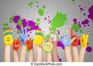 pintado, crianças, mãos