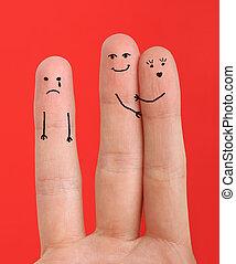 pintado, dedos, feliz
