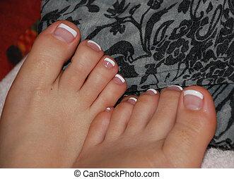 pintado, dedos pé