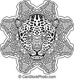 pintado, el, leopardo, en, el, plano de fondo, tribal, mandala, patterns., zendoodle