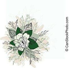 pintado, flor, retro