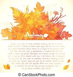 pintado, folhas, saudação, aquarela, modelo, laranja, cartão