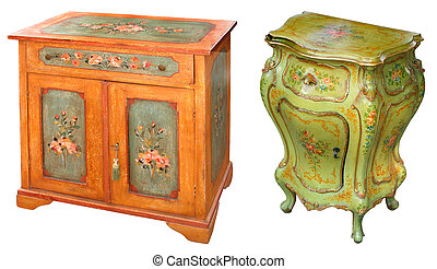 pintado, gabinetes, antigas
