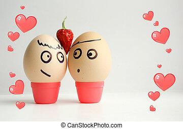pintado, huevos, concepto, amor, cara