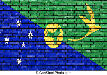 pintado, isla, pared, navidad, ladrillo, bandera
