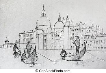 pintado, lápiz, venecia, pintura, italia