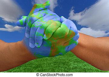 pintado, mãos, semelhante, a, planeta