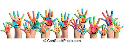 pintado, mãos, smileys