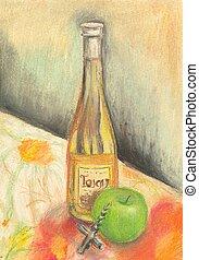 pintado, mano, botella, vino