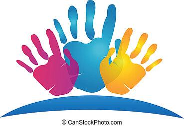 pintado, manos, icono, vector