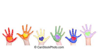 pintado, manos, para, un, frontera
