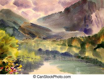 pintado, montanha, watercolor., paisagem