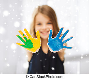 pintado, niña, actuación, manos