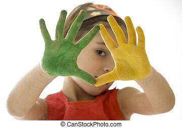 pintado, niña, ella, manos