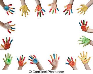 pintado, niños, manos