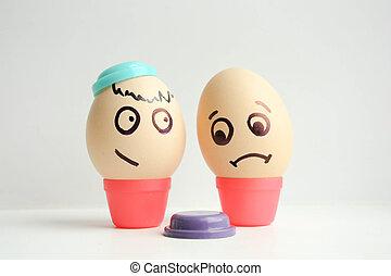 pintado, pérdida, huevos, concepto, cara
