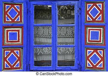 pintado, país, ventana, vívido, obturadores