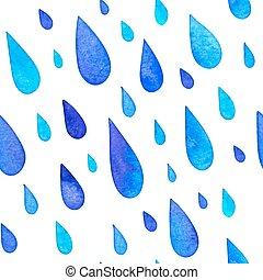pintado, padrão, seamless, chuva, aquarela, gotas