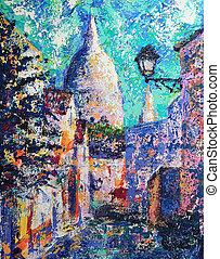 pintado, parís, francia, calle, acrílico, montmartre