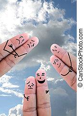 pintado, par, amor, dedos