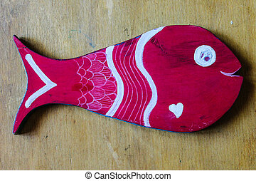 pintado, peixe, madeira, fundo