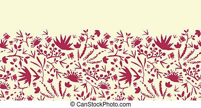 pintado, resumen, florals, horizontal, seamless, patrón,...