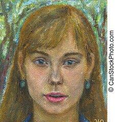 pintado, retrato, mulher, mão