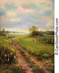 pintado, rural, lona, escena, retro