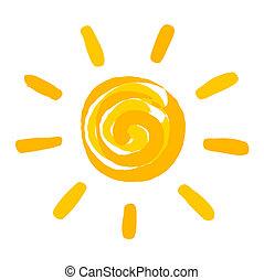 pintado, sol, ilustração