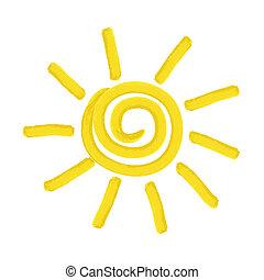pintado, sol, vetorial, -, ilustração