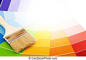 pintar escova, com, cor, cartões
