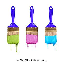 pintar escovas, gotejando, colorido