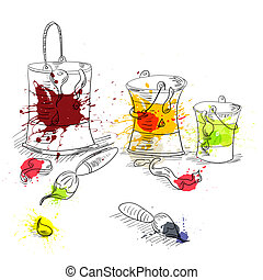 pintar escovas, latas