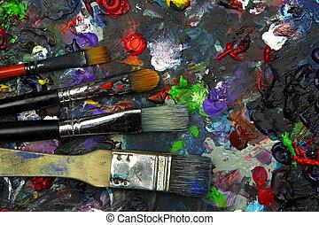 pintar escovas, ligado, arte, paleta