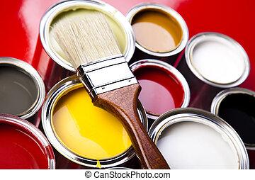 pintar las latas, brocha