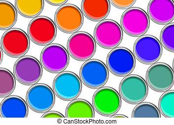 pintar latas, palette cor, latas, aberta, vista superior, isolado, branco