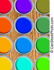 pintar latas, palette cor, latas, aberta, vista superior, ligado, tabela madeira
