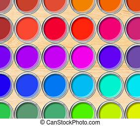 pintar latas, palette cor, latas, aberta, vista superior, ligado, tabela madeira, fundo