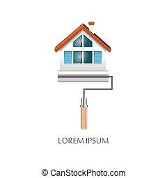 pintar rolo, com, casa, símbolo, ícone