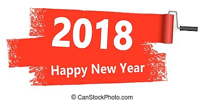 pintar rolo, conceito, ano novo, 2018