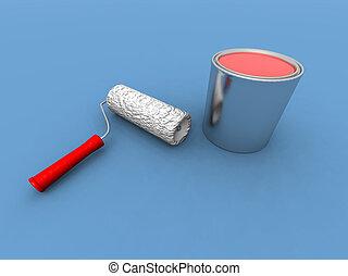 pintar rolo, e, pintura vermelha, lata